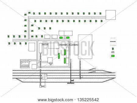 Drawing Area With Railroad And Green Spaces