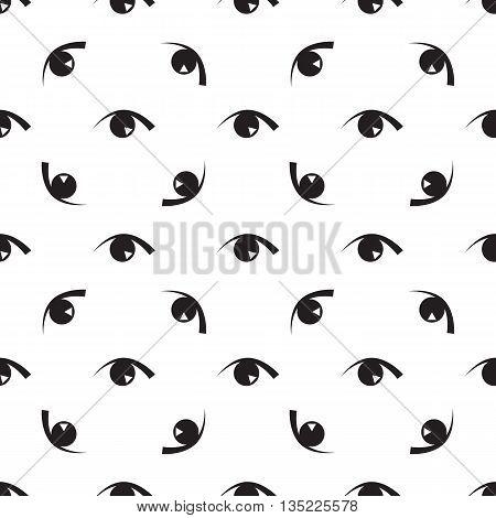 Black White Seamless Pattern With Eyes