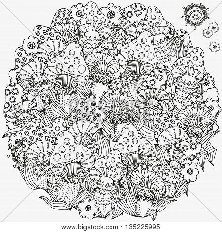 Circle ornament. Pattern for coloring book in vector. Fantasy fairy mushrooms in the magic forest. Mushrooms, flowers, mandala. Black and white pattern. Made by trace from sketch. Zentangle.