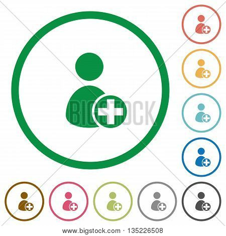 Set of Add new user color round outlined flat icons on white background