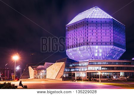 Minsk Belarus - September 28 2014: Building Of National Library Of Belarus In Minsk At Night Scene. Building Has 23 Floors And Is 72-metre High. Library Can Seat About 2000 Readers