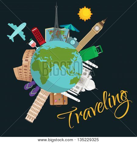 Travel around the world poster. Tourism vacation, earth world, journey global, vector illustration. World travel concept banner, international business background poster