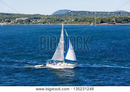 Sailboat off the beautiful coast of Rockland Maine