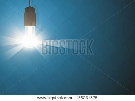 Bulb light in the dark. Realistic vector design. Lightbulb backgorund. Glowing lightbulb on dark backgrounds. Vector lightbulb on a blue backgrounds.