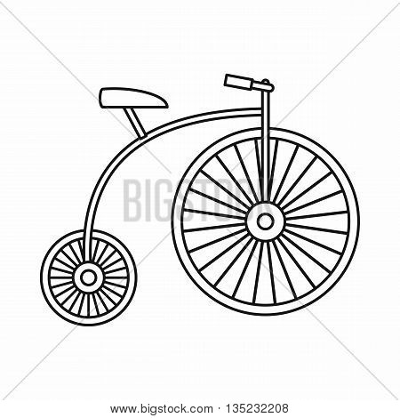 Penny-farthing icon in outline style isolated on white background poster