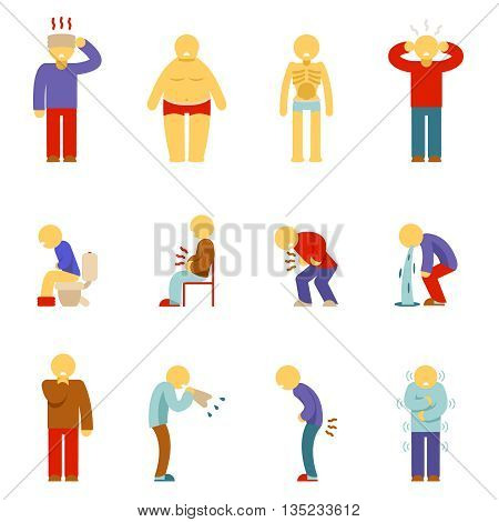 Sick people icons. Symptoms of disease people pictograms. Man illness, sickness man, pain icon, problem sick, headache sick. Vector illustration