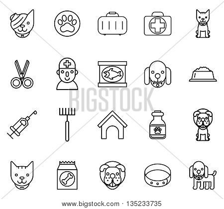 Veterinary line icons. Pets veterinary thin line signs. Pet and veterinary, dog veterinary, cat veterinary. Vector illustration