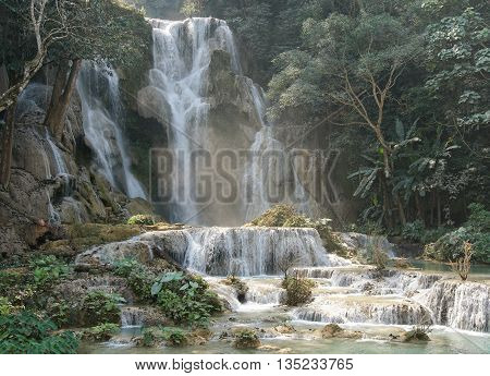 Tat Kuang Si Waterfall close to Luang Prabang, Laos, Asia