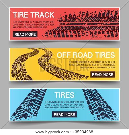Tire tracks vector banners set. Banner tire track, dirty messy track banner, mud trail track banner illustration