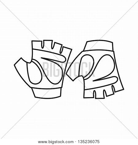 Cycling gloves icon in outline style isolated on white background