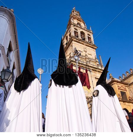 The extraordinarily Christian procession of the Semana Santa, Holy Week, in Cordoba, Spain.