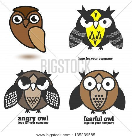 Set of four brown owls logo vector illustration Set of four brown owls logo for different directions of business on white background vector illustration