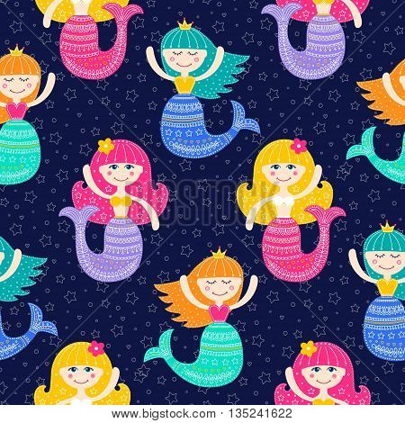 Cute mermaid. Vector seamless pattern with flat mermaid girls. Colorful sea background for kids. Bright colors - pink yellow blue green violet. Flat mermaid with doodle ornament on navy background.