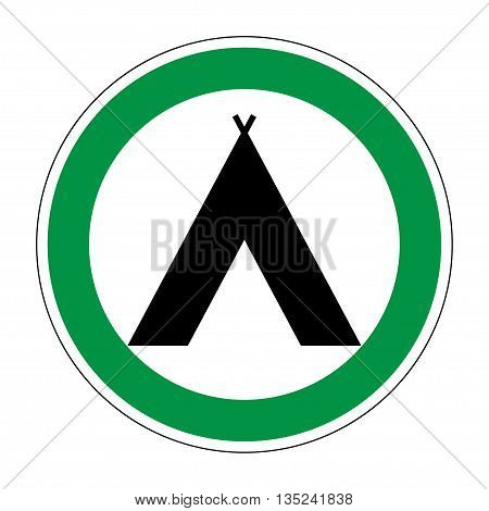 Sign place for camp. Camping icon. Flat symbol for tourists. Modern art scoreboard. Campsite graphic image. Plane mark in green circle on white background. Stock vector illustration