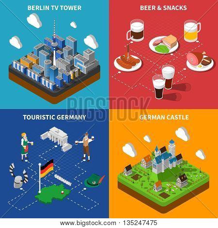 German culture for tourists 4 isometric icons banner with beer snacks and castle abstract isolated vector illustration