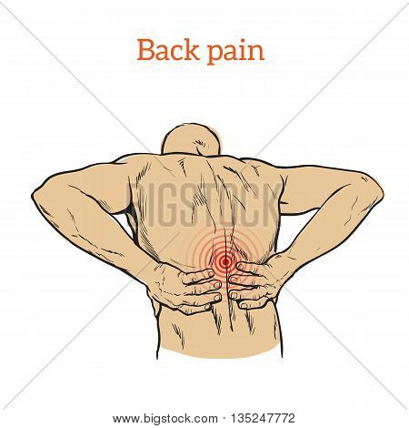 Lumbar pain in a man back pain in a human outline sketch, color illustration with concept of disease back, violation of waist, lumbar vertebrae and intervertebral discs