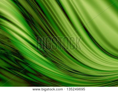 Wavy flowing green background coated  black zigzag smudges washouts