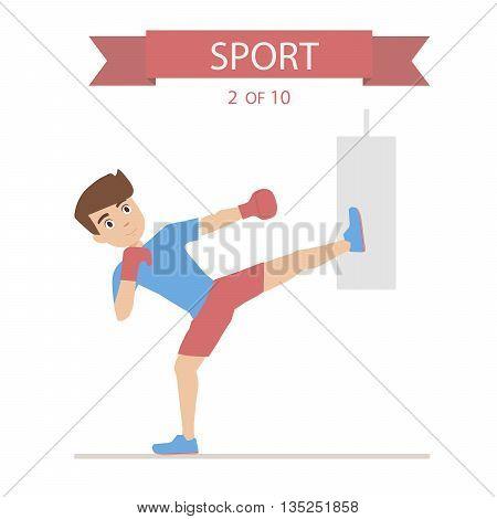 kickboxing athlete boxing punching bag flat graphics