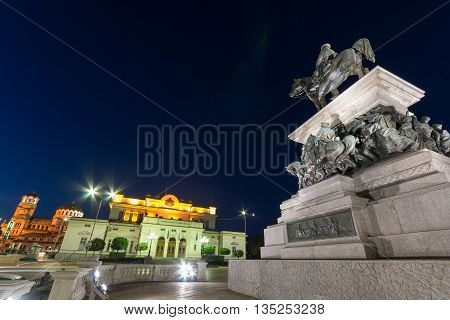 Monument of the Tsar Liberator, National Assembly and Alexander Nevsky Cathedral in city of Sofia, Bulgaria