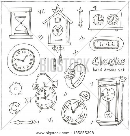 Set of doodle sketch clocks and watches. Alarm clocks, sand glasses, stop-watch and other symbols of time isolated vector illustration