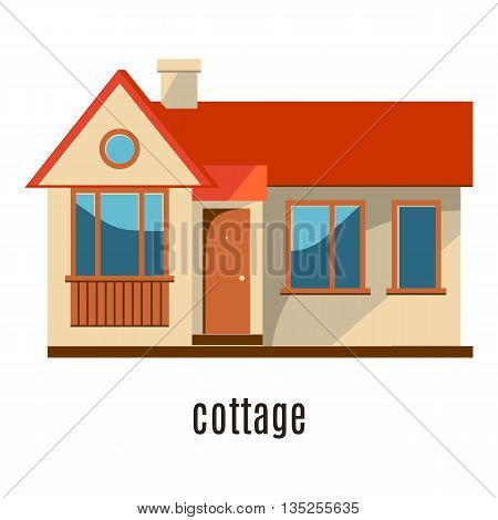 Flat house icon isolated on white background. Vector illustration for real estate design. Cute cartoon home sign. Single storey building. Architecture symbol. Residential cottage. Property village.