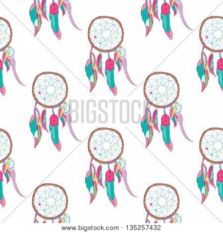 Traditional indian dreamcatcher seamless pattern. Tribal ojibwe magical totem for dream protection made of bird quills and feathers, web or net. Spiritual american and indian paganism symbol