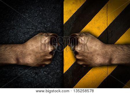 Man hand fist on dark background tone, strong fist on black background, fighting fist concept.