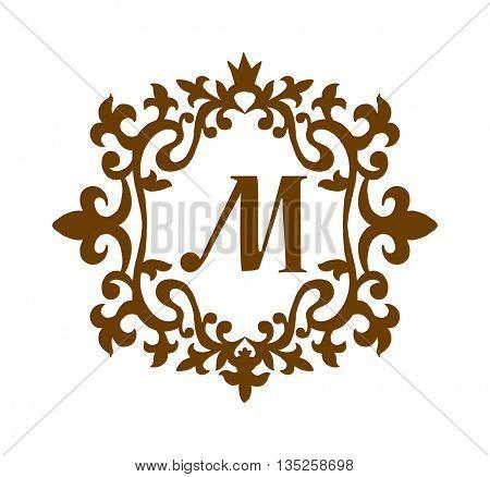 Business M sign monogram logo and badge emblem line vector illustration. Emblem monogram luxury badge logo template flourishes calligraphic M elegant ornament lines vector.