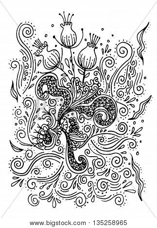 Hand Drawn Doodle Flower,vector Illustration Of Flower