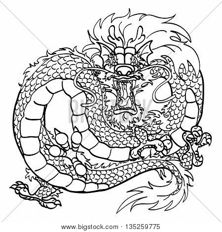 Furious Asian Chinese dragon black contour line on white background
