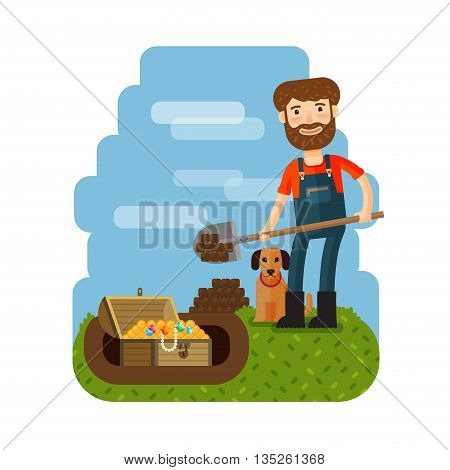 Treasure hunter, archaeologist, archeologist. Downshifter Unexpected discovery vector illustration