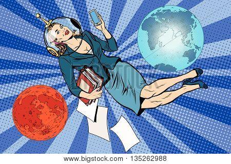 Cosmic business woman astronaut pop art retro vector. The future universe earth Mars planet