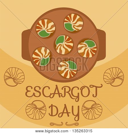 National escargot day.Deliciously cooked land snail. Vector illustration of traditional french cuisine dish. Ideal for restaurant menu for national escargot day celebration decoration