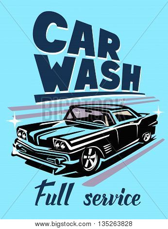 color vector illustration of retro car poster