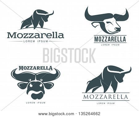 set of logos with buffalo mozzarella cheese, vector simple illustration isolated on a white background, four of the logo for the Italian buffalo mozzarella, brand logo for dairy mozzarella