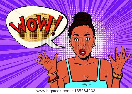 Wow surprised beautiful woman, African American black people pop art retro vector. Emotional beautiful girl