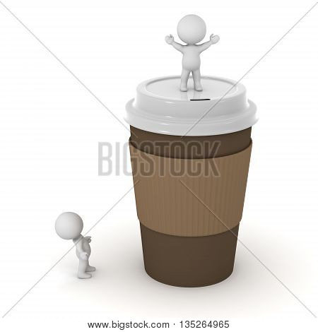 Small 3D characters and a large coffee cup. Isolated on white background.