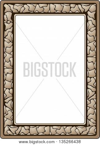 Abstract border design of cracked stone,  in Earth tones