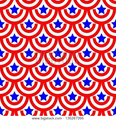 Semicircle and star seamless pattern. American patriotic stars and rounds image in bright red blue and white. Template for prints textiles wrapping wallpaper website etc Stock vector illustration