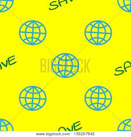 Globe and text SAVE geometric seamless pattern. Concept protection nature. Ecology saving idea. Color texture. Template for prints textiles wrapping wallpaper website etc. Stock vector ilustration