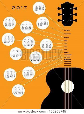 2017 Guitar calendar, ideal for gig calendar