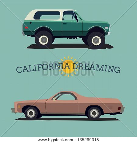 Muscle car. Flat styled. Vector illustration. Vintage.
