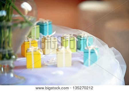 Brightly Colorful Little Party Favors On A Table