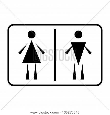 A lady and a man toilet sign on white background. Plane design. Monochrome wc restroom sticker. Toilet symbol. Male and female flat icon. Stock vector illustration