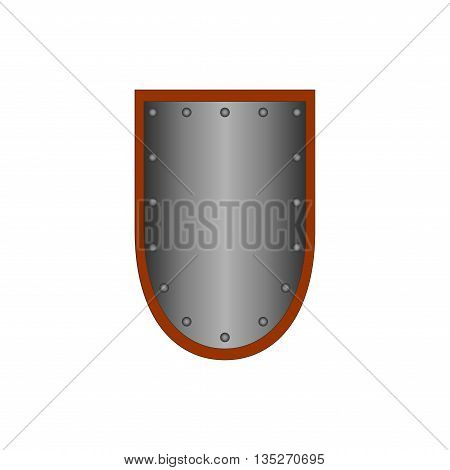 Sign shield silver. Protection icon isolated on white background. Mark with volume effect. Symbol of a steel guard. Monochrome element. Logo for military and security. Stock vector illustration