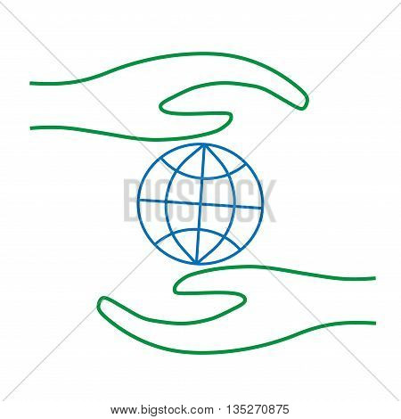 Sign save Earth in hand. Image of globe in protection. Colorfull environment symbol. Careful concept. Logo for ecology. Light flat silhouette. Protect mark. Stock vector illustration