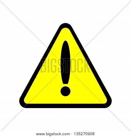 Sign caution. Warning color triangle icon isolated on white background. Prevent plane image. Hazard attention badge with exclamation mark symbol. Flat design style. Stock vector illustration