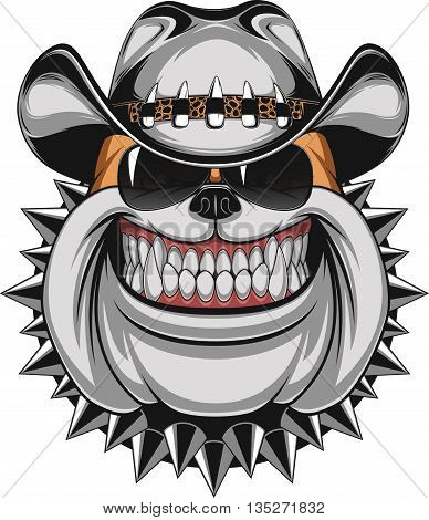 Stock Photo Bulldog in a cowboy hat and sunglasses smiling