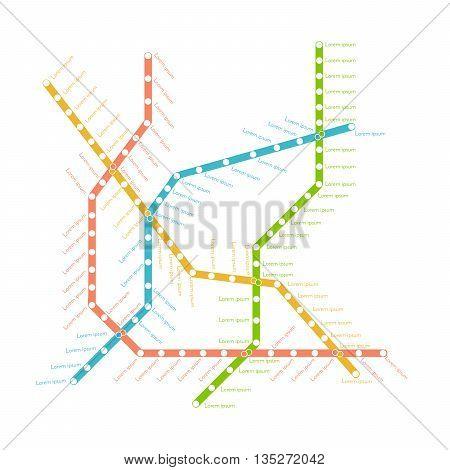 metro or subway map design template. city transportation scheme concept. rapid transit vector illustration