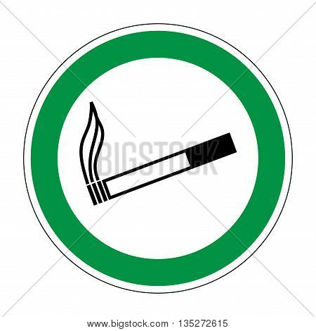 Sign place for smoking. Flat symbol for smoker. Modern art scoreboard. Allowed smoke graphic image. Plane mark in green circle on white background. Permission figure. Stock vector illustration